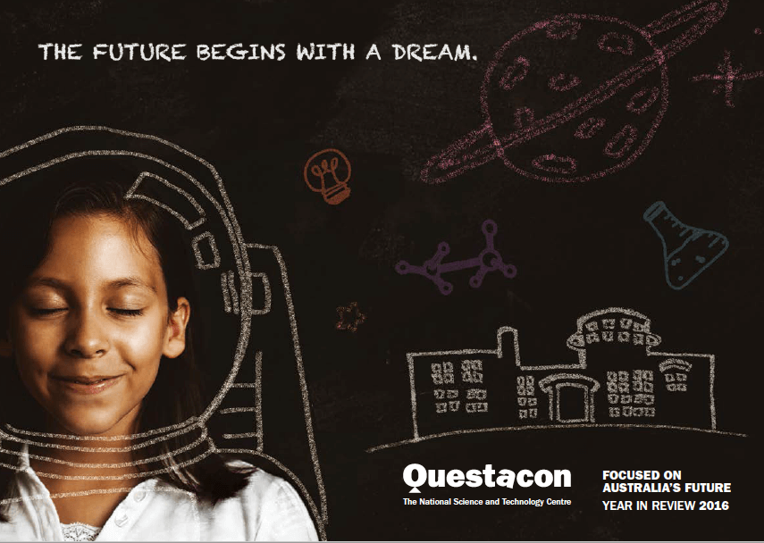 The cover of the Questacon Annual Review for 2016