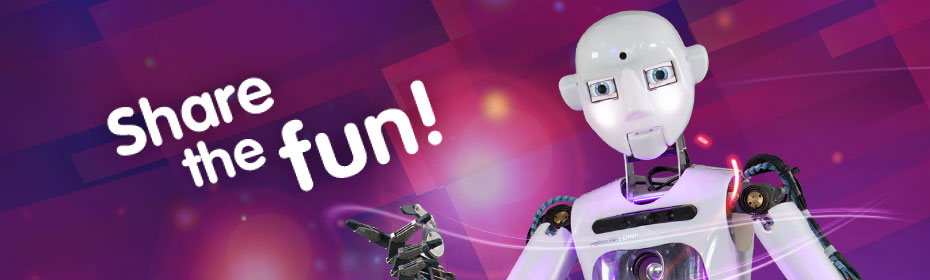 Share the fun! Image of a humanoid robot.