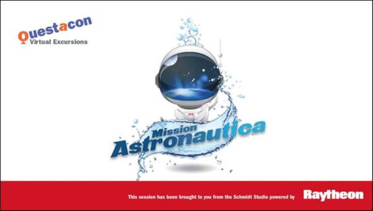 Astronaut cartoon logo with text Mission Astronautica, Questacon and Raytheon