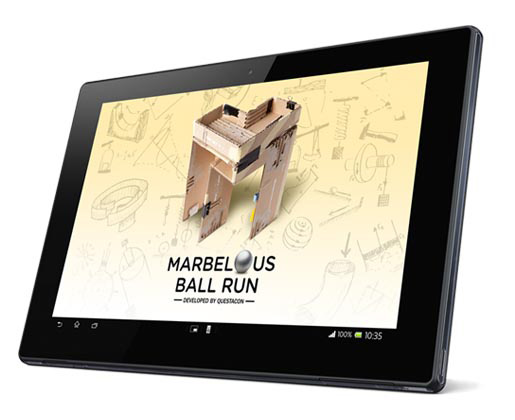 an electronic tablet with the words Marbelous developed by Questacon