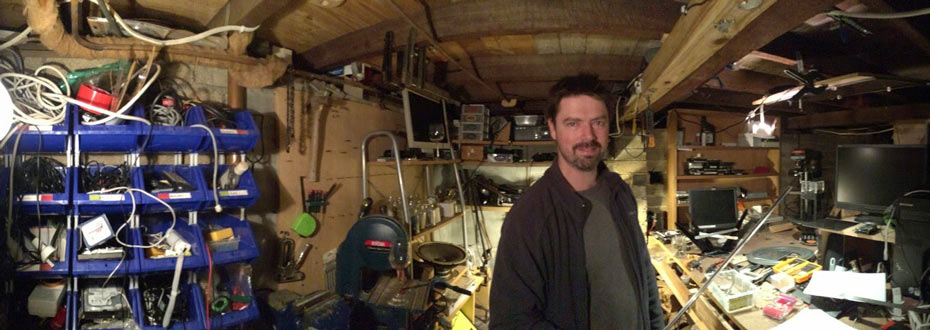 Will Tamblyn stands in the shed where he and Gavin first prototyped Voxiebox