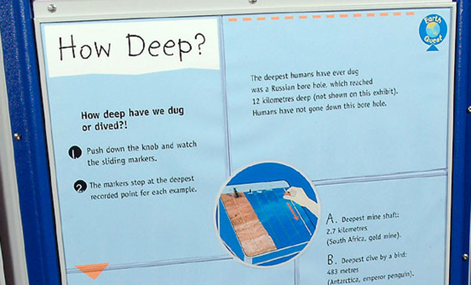 A blue and white information panel with the title 'How Deep?'