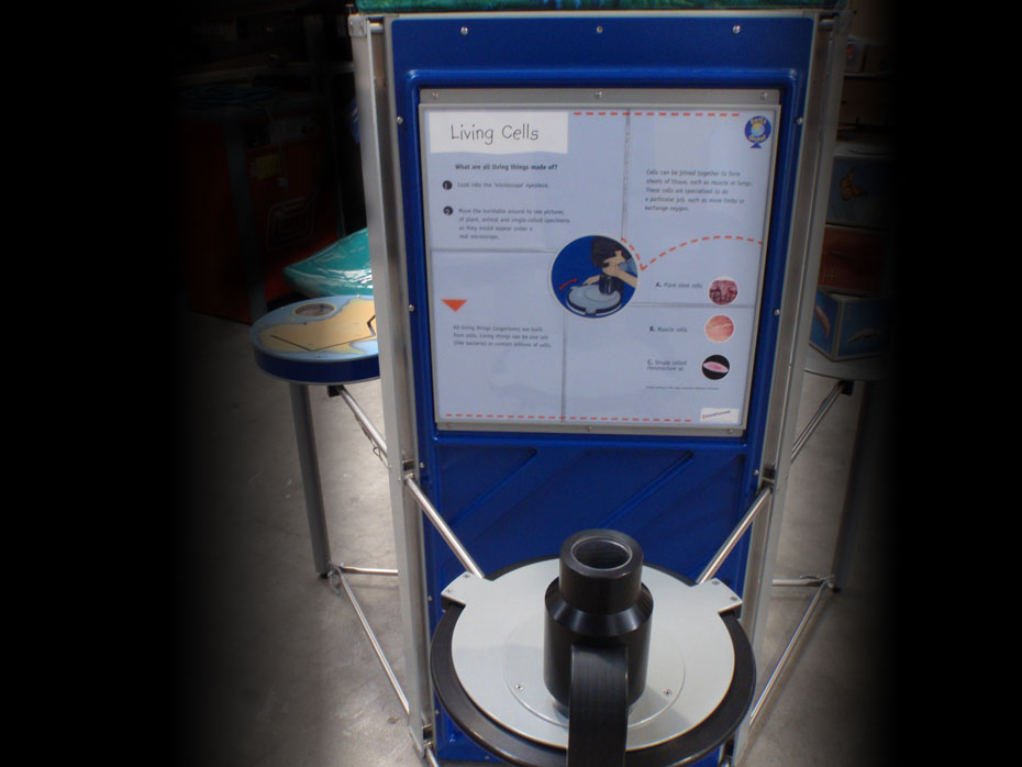 an upright exhibit with information panel