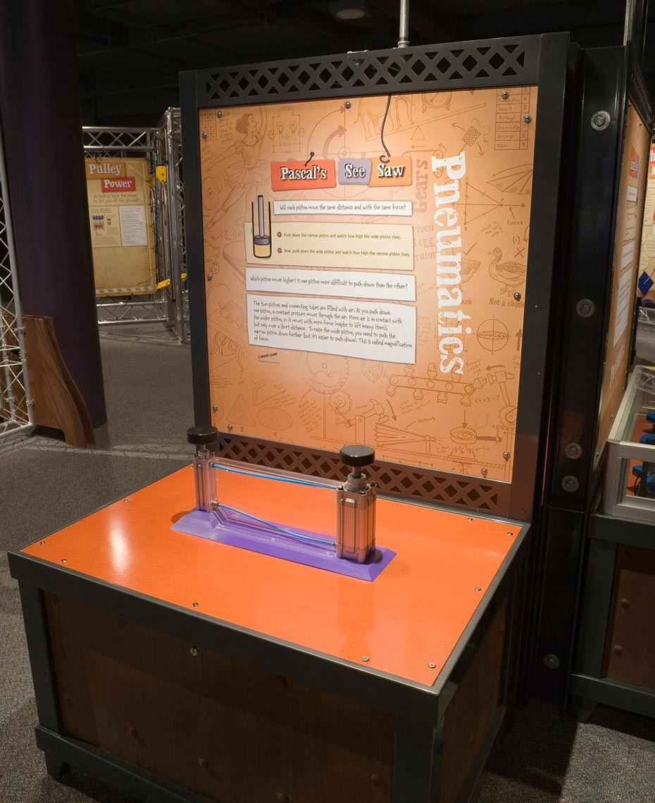 A black and orange exhibit table, with matching information panel at the back. On the table sits two silver pistons with black handles and a purple base between them.