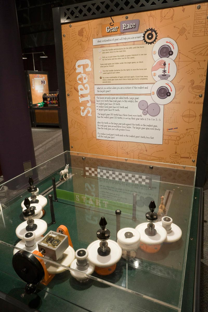 A black exhibit table with a clear perspex box over it, enclosing a series of white gears all connected together. At the back of the table is a brown and white information panel.