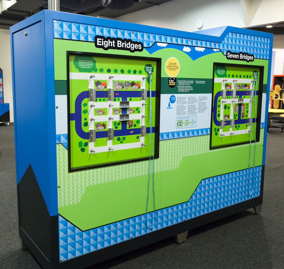 A large blue and green rectangular exhibit.