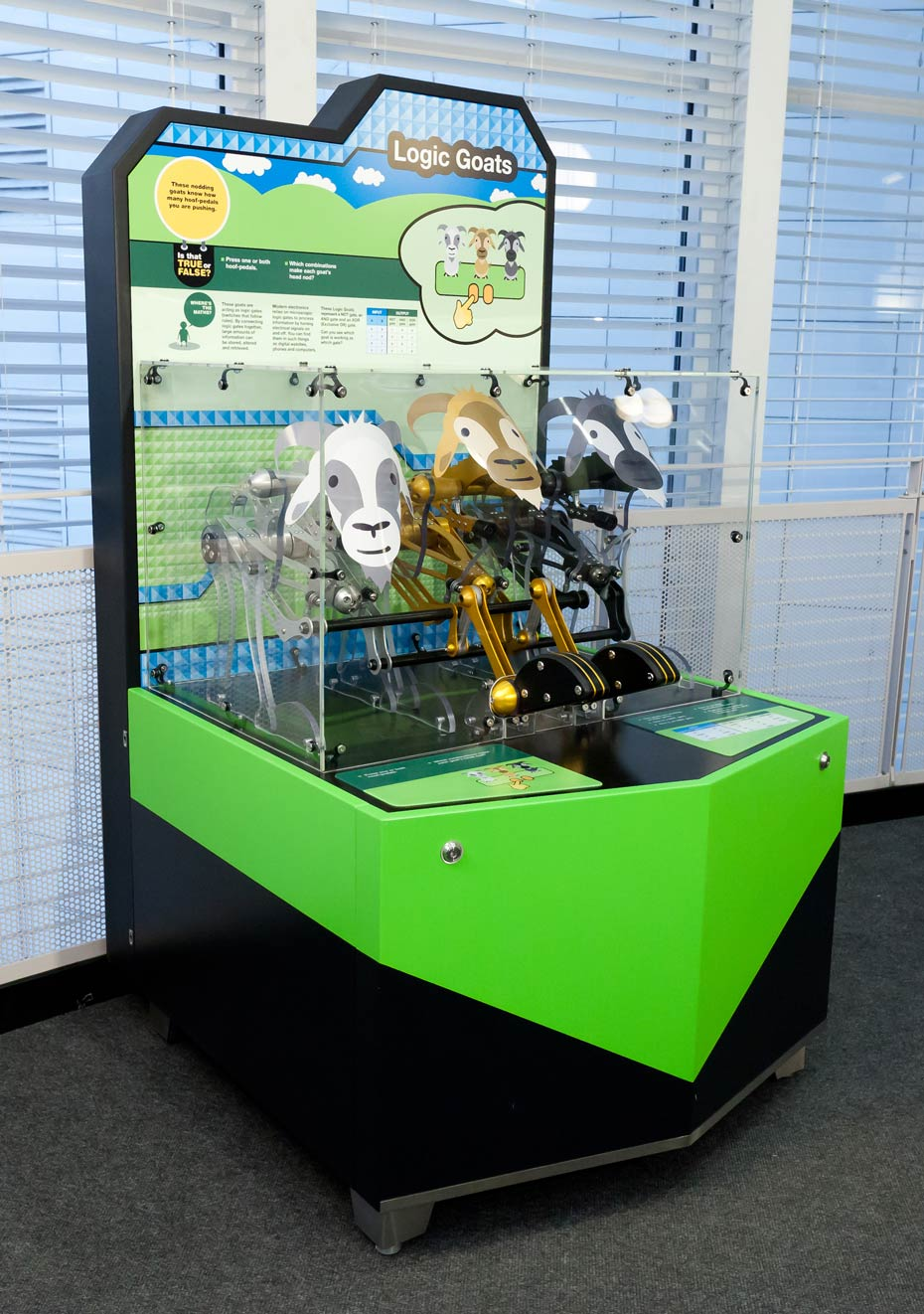 In front of a large windows with white slat blinds, sits a green, black, blue and white exhibit that has a display table enclosed in perspex at the front and an information panel at the back. There are three mechanical goats on the table.