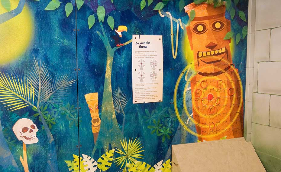 A wall mural painted as a jungle scene in blue, green and orange, with pictures of a skull, a mask, a bird, a information panel and a totem pole that has a target on it.