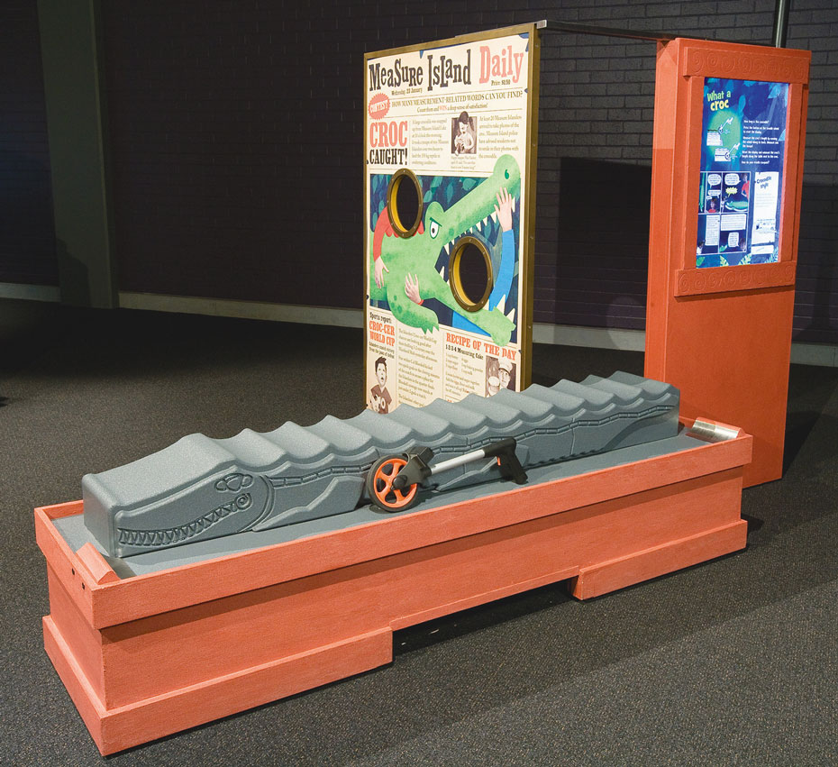 A orange table has a grey plastic crocodile sitting on it, along with a surveyor's wheel. Behind stands two vertical information panels.