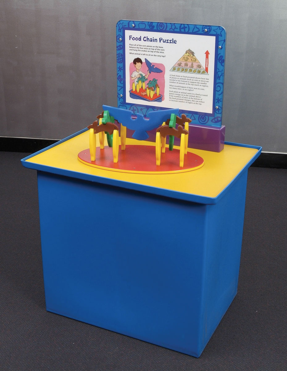 A blue and yellow exhibit table with a blue and white information panel on top. Sitting on the table is a toy plastic bird and rabbits.