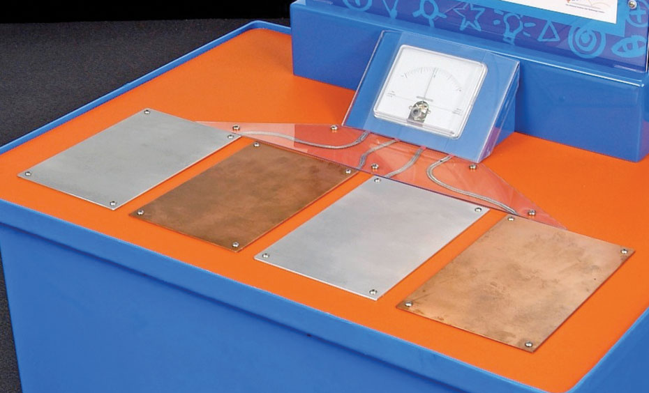 A blue and orange exhibit table with a white and blue information panel at the back. On the top of the table are four metal rectangular pads connected to a voltage meter.