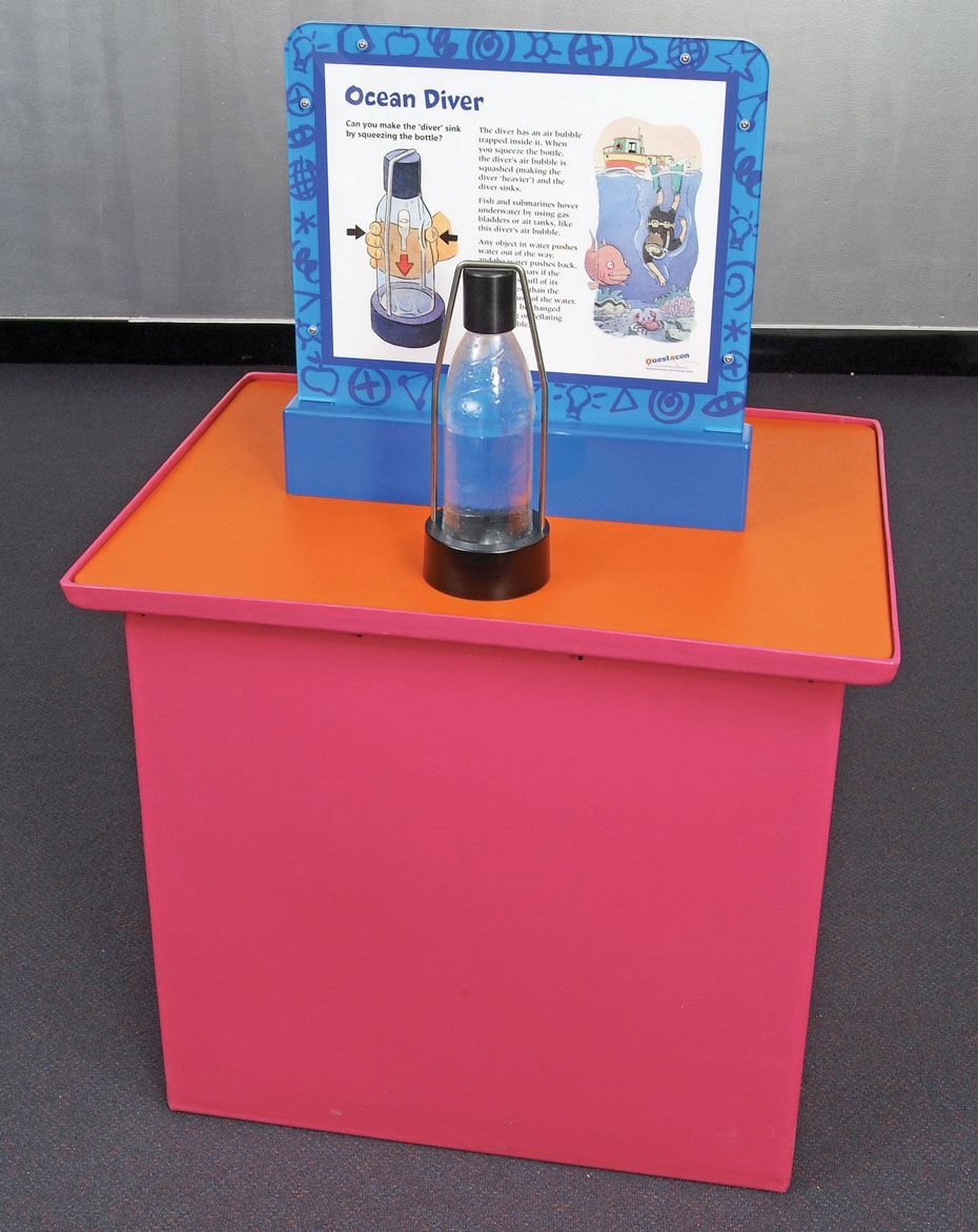 a red and orange exhibit table with a white and blue information panel on top. On the table top sits a clear plastic water bottle with a black top and bottom.