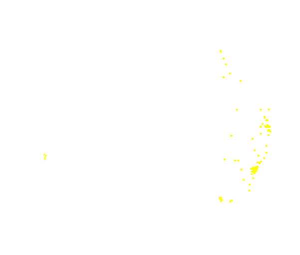 Map of Australia showing distribution of the St Andrew's Cross spider. There is a small concentration of dots in Perth (left lower map), with all the remaining dots on the right hand side of the map along the coastal areas.