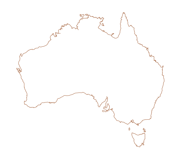 an outline of the map of australia