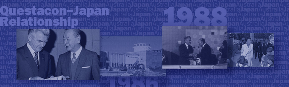 Old photos of various people in suits standing beside one another at the opening of a building. Text reads Questacon-Japan Relationship 1988.