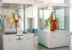 Two glass cabinets, each of which is about two cubic metres in size, stand side by side in the Questacon foyer. The right-hand cabinet contains a 1-metre-high Japanese Karakuri doll in traditional Japanese dress. The left-hand cabinet contains a similar doll, but with the lower garments removed, revealing the underlying articulated structural elements' levers and struts' that are responsible for the dolls' movements.