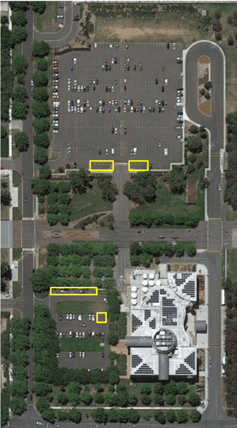 An overhead view of Questacon indicating the location of accessible parking