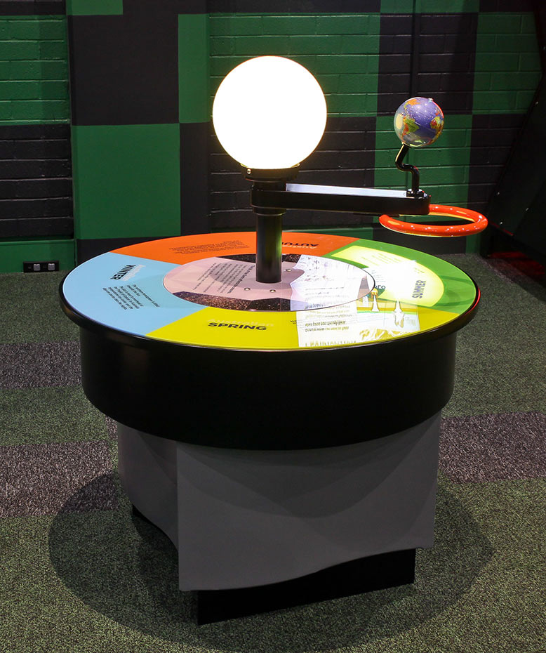 A model earth and sun showing shadows on the earth. They sit above a large round colourful information disc which has the different seasons displayed.