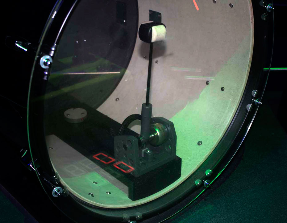 A close up of a kit drum.