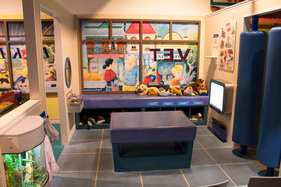 A mock up vet surgery designed for small children to play in.