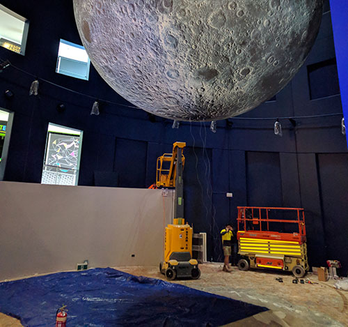 The Moon exhibit at Questacon being constructed