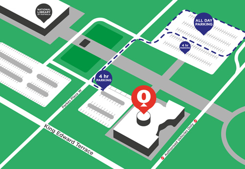 This map contains the Questacon building and outlines the two car parks closest. There is a small car park directly next to the Questacon building that contains 4 hour parking, and there is a larger car park further north containing 4 hour parking in the first two rows and all day parking beyond that. Both car parks can be accessed from the street Parkes Place West.