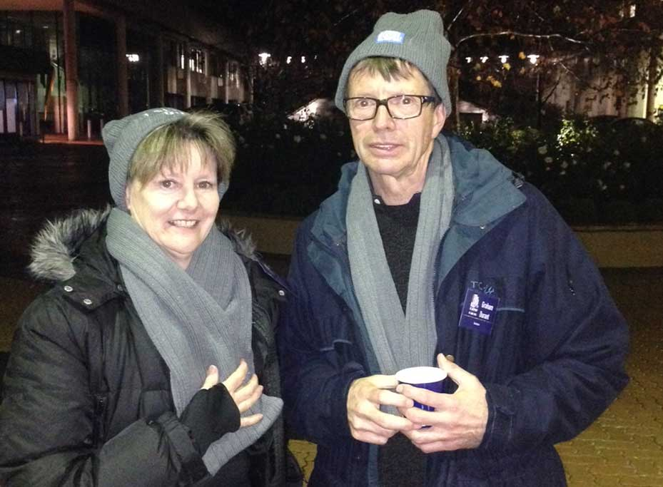 IP Australia Director General, Patricia Kelly, with Graham Durant during the CEO Sleepout.