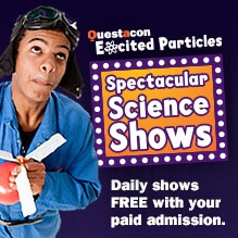 Logo: Questacon excited particles. Spectacular Science Shows. Daily shows free with your paid admission.