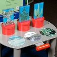 A blue, green and grey exhibit table and matching information panel with red pots and pictures of plants on the front grey table.