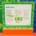 A green and white information panel with the title 'Zed to Zee'.