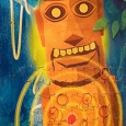 A mural of a totem pole that has a target on it.