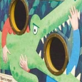 A painting of a green crocodile with circle cut outs behind it's head and between it's teeth.