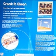 "A blue and white information panel with the title ""Crank it Clean"""
