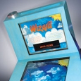 A blue pinball shaped exhibit with the title 'Water Wizard' in both vertical and horizontal information panels.