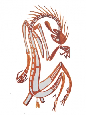 Aboriginal artwork of the Stone Country Devil, named Namande from Kakadu, by Neville Namarnyilk.