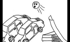 a simple line drawing of a circle with a face on it moving over two cars. There is a ramp on the right of picture.