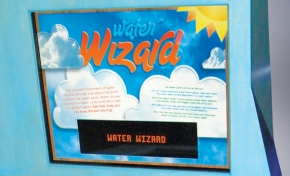 A blue themed information panel with the title 'Water Wizard'