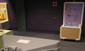 Two purple and cream exhibits about 5 metres apart. The text 'Pseudoscope' is on the nearest exhibit.