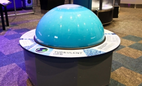 A large blue orb exhibit.