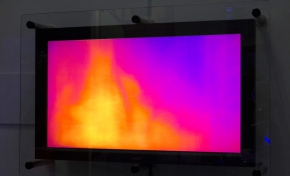 The evaporation exhibit consists of a thermal camera, observing water vapour, and a monitor showing different colours of the results.