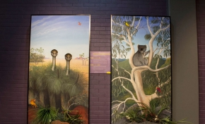 two 3D paintings. on the left, has 2 emus, and on the right a koala in a white gum tree