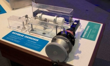 a reverse osmosis device made of perspex, pvc piping, and a metal winding device.