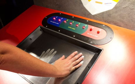 a display control board, with a screen where you place your hands on.