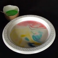 A white plastic plate that has water in it and colourful swirls.