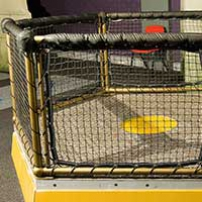 An hexagonal yellow platform with 5 fenced sides rising up that are padded on the top of the hand rails. Black netting runs from the hand rails to the base.