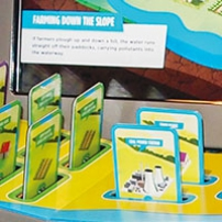 "Brightly coloured cards sit out of slots on a display unit, with a computer monitor with the words ""Farming down the slope"" on the screen."