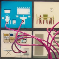 Four picture of different house rooms, with pink tubing going into items such as tiolets and washing machines.