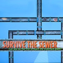 A screen shot of a blue background with dark blue pipes and the title in orange 'Survive the Sewer'.