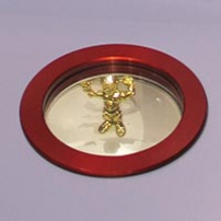 A gold coloured model robot within a red ring.