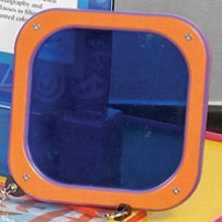 An orange square shape with a blue centre piece that is see through.
